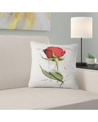 """East Urban Home Floral Rose Hand Drawn Illustration Pillow FUSI5491 Size: 18"""" x 18"""" Product Type: Throw Pillow"""