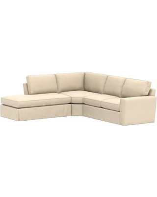Pearce Square Arm Slipcovered Right 3-Piece Bumper Wedge Sectional, Down Blend Wrapped Cushions, Performance Everydayvelvet(TM) Buckwheat