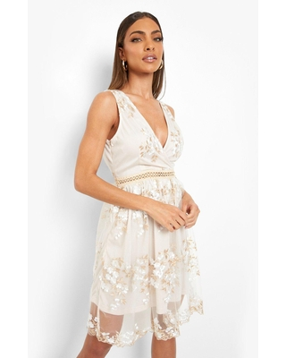 Womens Boohoo Occasion Floral Embroidery Wrap Skater Dress - White - 12
