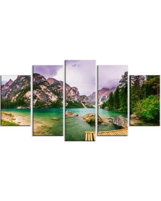 Design Art 'Mountain Lake between Mountains' 5 Piece Photographic Print on Wrapped Canvas Set, Canvas & Fabric in Brown/Green | Wayfair PT14711-373
