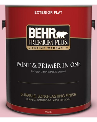 BEHR Premium Plus 1 gal. #130C-2 Cafe Pink Flat Exterior Paint and Primer in One