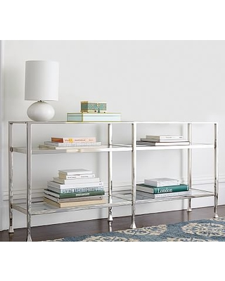 Etonnant Tanner Long Console Table, Nickel Finish