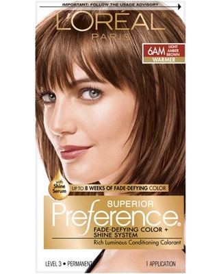 L'Oreal Paris Superior Preference Fade-Defying Shine Permanent Hair Color, 6AM Light Amber Brown, 1 kit