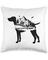 Shorthaired Terriers GSP Gift German Shorthair Pointer Mom   Nature Lover   Silhouette Dog Throw Pillow, 16x16, Multicolor