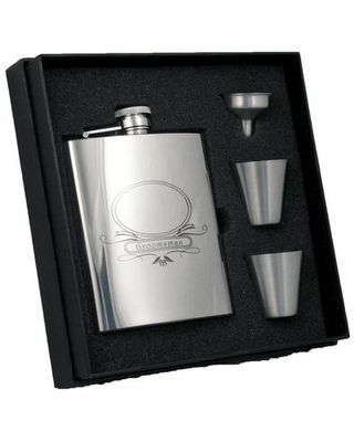Groomsman Stainless Steel Deluxe Flask Gift Set Visol Products