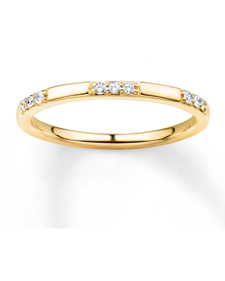 Diamond Stackable Ring 1/10 ct tw Round-cut 10K Yellow Gold