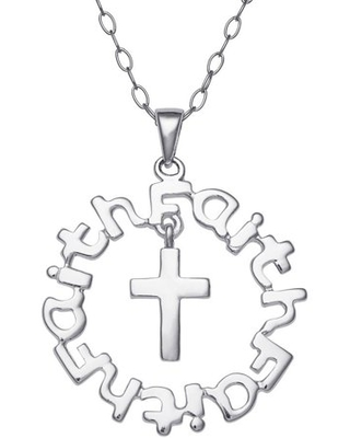 """Sterling Silver """"Faith"""" Sentiment Pendant with Dangling Cross, 18"""""""