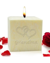 "Carved Solutions Double Heart Grandma Lavender Scented Votive Candle EL3C-Grandma-Doubleheart / EL4C-Grandma-Doublehear Size: 4"" H x 4"" W x 4"" D"