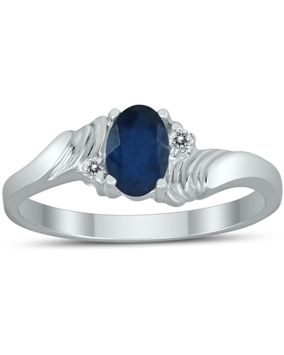 6X4MM Sapphire and Diamond Wave Ring in 10K White Gold (7)