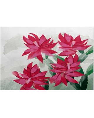 Christmas Cactus Floral Print Indoor/Outdoor Rug