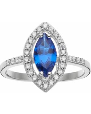 925 Sterling Silver Rhodium-plated CZ /& Blue Created Spinel Stud Post Earrings