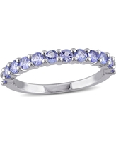 .84 CT. T.W. Tanzanite Stacking Ring in Sterling Silver - (7), Blue