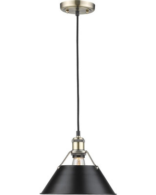 Golden Lighting Orwell AB 1-Light Aged Brass Pendant with Black Shade