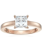 Rose-Gold Plated Sterling Silver Princess-Cut Solitaire Ring made with Swarovski Zirconia (1 cttw), Size 6