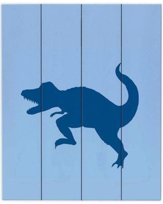 """DiaNocheDesigns Dinosaur I by Catherine Holcombe Graphic Art Plaque WPA-CatherineHolcombeDinosaurIBlue Size: 20"""" H x 16"""" W x 1"""" D"""