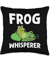 Funny Amphibian Animal Green Frog Themed Designs Frog Gift For Men Women Cute Bullfrog Toad Tadpole Lovers Throw Pillow, 16x16, Multicolor