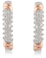 Divina Silver Overlay and Gold Plated Diamond Accent Hoop Earrings