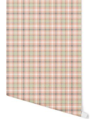 "August Grove Hitchens Plaid 4' L x 24"" W Peel and Stick Wallpaper Panel BF057708"