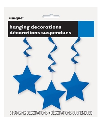 Star Hanging Decorations, 26 in, Royal Blue, 3ct