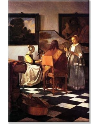 """Buyenlarge 'Musical Trio' by Johannes Vermeer Painting Print on Wrapped Canvas 26339 Size: 36"""" H x 24"""" W"""
