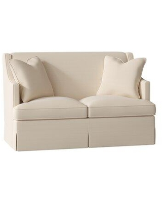 """Duralee Furniture Cardiff 60"""" Recessed Arm Loveseat WPG10-615-60 Body Fabric: Flannery Ivory"""