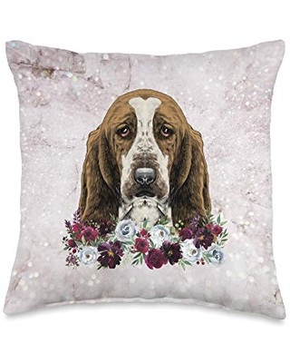 Basset Hound Gifts Accessories Floral Basset Hound Throw Pillow, 16x16, Multicolor