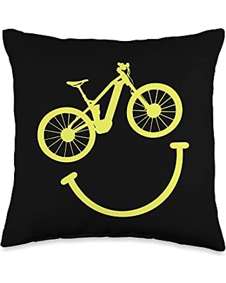 Cyclist Gifts & Cyclist Clothing Bike Accessories Bike Smiley Face Funny MTB Cycling Throw Pillow, 16x16, Multicolor