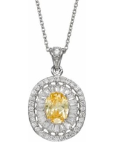 """Sophie Miller Cubic Zirconia Sterling Silver Oval Pendant Necklace, Women's, Size: 18"""", Yellow"""