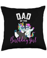 Unicorn Squad Goals Gift Store Dad Girl Unicorn Birthday Family Father Throw Pillow, 18x18, Multicolor