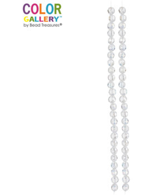 Crystal AB Faceted Disc Glass Bead Strands - 8mm