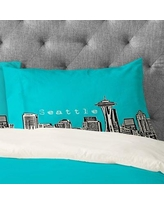 Deny Designs Bird Ave Seattle Pillowcase 1361 Color: Teal Size: Standard