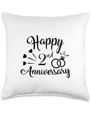 Couple 2nd Anniversary Gift Co. Couples Present Cool Happy 2nd Anniversary Throw Pillow, 16x16, Multicolor