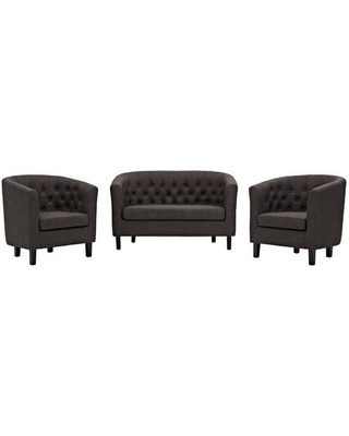 Prospect Collection EEI-3149-BRN-SET 3 PC Loveseat and Armchairs Set with Foam Padding Cushion Non-Marking Foot Caps Espresso Stained Wood Legs and