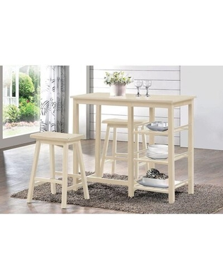 3 - Piece Counter Height Rubberwood Solid Wood Dining Set