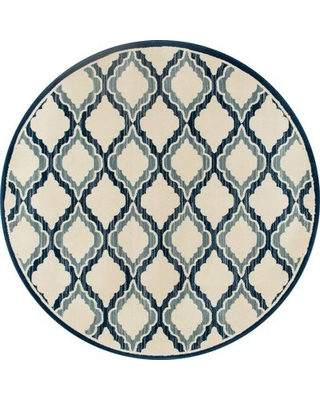 Piercy Beige/Teal Area Rug Charlton Home Rug Size: Round 5'3""