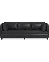 """Wilshire Sofa 96"""", Down Blend Cushion, Italian Distressed Leahter, Wolf"""