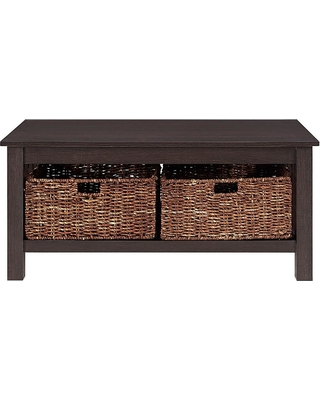 Walker Edison Furniture Company Rustic Wood Accent Coffee Table Basket Storage - Espresso, Brown