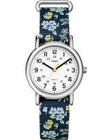 Timex Weekender Slip Thru Floral Nylon Strap Watch - Blue T2P370JT, Women's