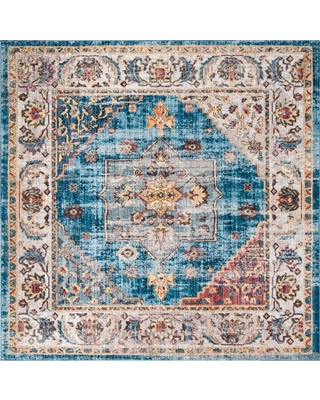 Safavieh Blue Ivory Floral Loomed Square Area Rug 7 X7 Safavieh White Blue From Target People