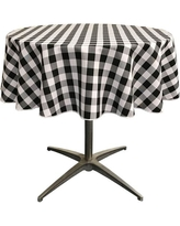 White And Black Polyester Gingham Checkered Round Tablecloth, White/Black