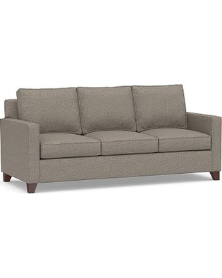 """Cameron Square Arm Upholstered Sofa 86"""", Polyester Wrapped Cushions, Performance Chateau Basketweave Light Gray"""