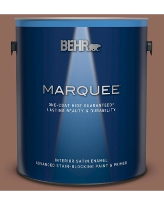 BEHR MARQUEE 1 gal. #220F-6 Chocolate Curl Satin Enamel Interior Paint and Primer in One