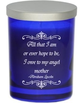 """Carved Solutions Gem """"Angel Mother"""" Jar Candle WXH1392 Color: Sapphire"""