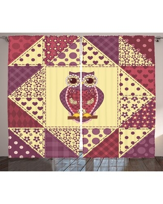 "Owl Geometric Room Darkening Rod Pocket Curtain Panels East Urban Home Size per Panel: 54"" x 84"""