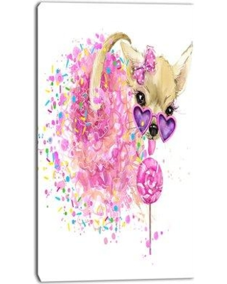 """Design Art 'Sweet Pink Dog with Glasses' Painting Print on Wrapped Canvas PT13392- Size: 32"""" H x 16"""" W x 1"""" D"""