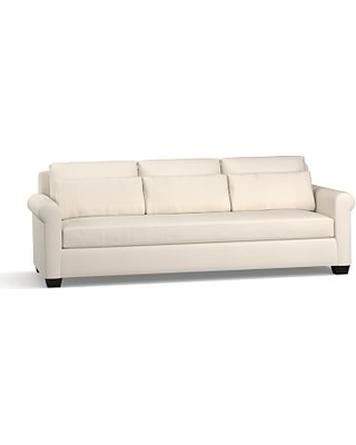"York Roll Arm Upholstered Deep Seat Grand Sofa 98"" with Bench Cushion, Down Blend Wrapped Cushions, Performance Twill Cream"