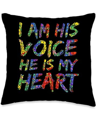 Awesome Autism Awareness Shirts Design Studio Autism Mom Puzzle Piece Art I Am His Voice He is My Heart Throw Pillow, 16x16, Multicolor