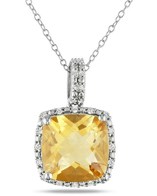 Miadora Sterling Silver Citrine and 1/10ct TDW Diamond Necklace (G-H, I3) (White - Citrine - Yellow - 18 Inch)