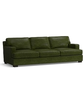 Townsend Square Arm Leather Grand Sofa, Polyester Wrapped Cushions, Leather Legacy Forest Green