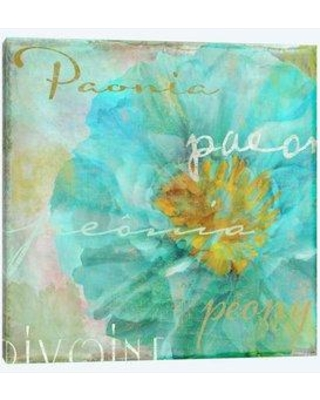 """East Urban Home 'Blue Peony Light' Graphic Art Print on Wrapped Canvas EBHS0859 Size: 12"""" H x 12"""" W x 1.5"""" D"""